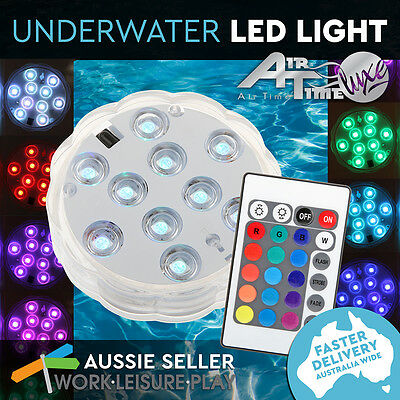Powerful LED Underwater Pool Spa Light RGB 10 Colours Remote Control Airtime