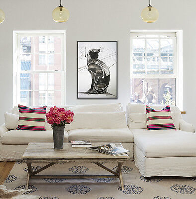 ORIGINAL CHARCOAL CAT DRAWING 'STUDIO SKETCH' MODERN ART PAINTING by ANNA BOYLE