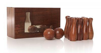 Classic Indian Rosewood Wooden Table Bar Skittles Game Travel Box Set Mens Gift