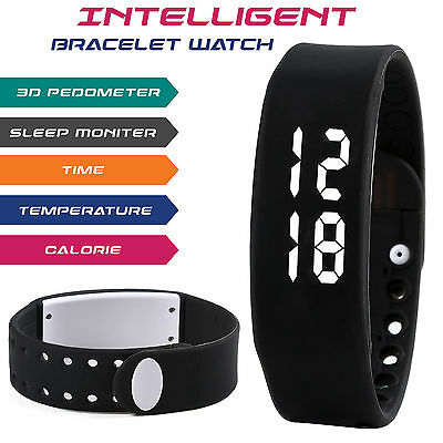 3D Smart Pedometer Bracelet Watch Wrist Step Walking Tracker Calorie Counter UK