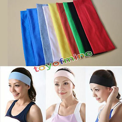 Sports Yoga Gym Stretch Cotton Headband Head Hair Band Armband Girls Womens Kids