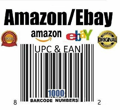 1000 UPC Numbers Barcodes Bar Code Number Amazon Ebay US Guarantee Email
