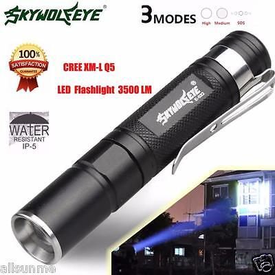 Mini 3500LM Zoomable CREE Q5 LED Flashlight 3 Mode Torch Super Bright Light Lamp