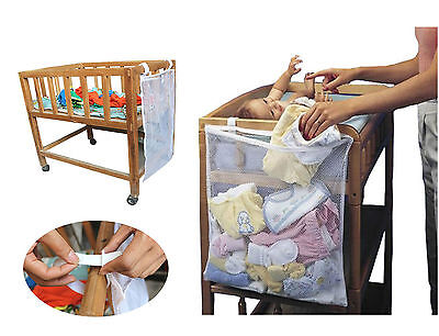 Baby Cot Bed Diaper Hanging Cloth Toy Tidy Storage Bag Basket Organizer Single-1