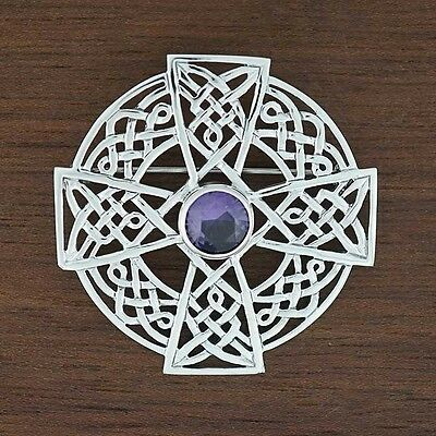 Large Sterling Silver Celtic Knot Medieval Shield Cross Dancing Kilt Brooch Pin