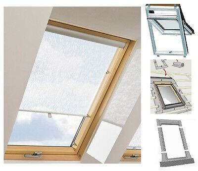 Dachfenster + Eindeckrahmen + Rollo Balio Rooflite Skylight Optilight Velux