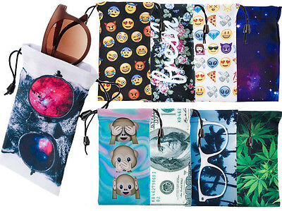 Full printed Glasses / Sunglasses Drawstring Pouch Soft Case Emoji Cover