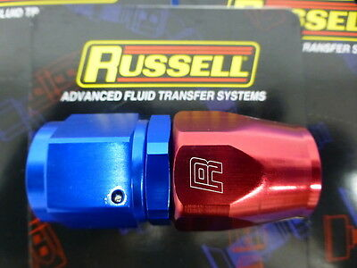 6AN Straight Hose End Russell 610020 Red//Blue Anodized Aluminum