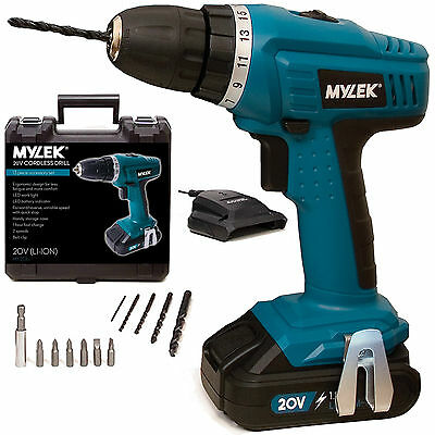 MYLEK 20V Cordless Li-ion DIY Combi Drill Driver Screw driver Variable Speed