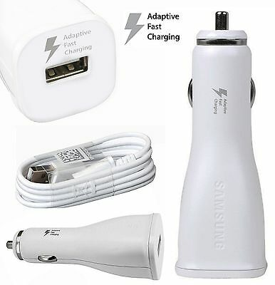 Genuine SAMSUNG 15W Fast Car Charger+Cable for Galaxy S7 S6 Edge NOTE 4 5 -White