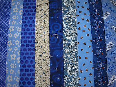 """9 Jelly Roll Strips Blue   44"""" X 2.5""""  100% Cotton Patchwork/quilt Blu"""