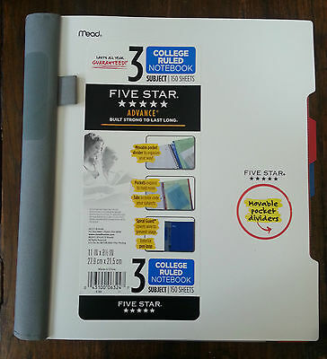 Five Star Advance 3 Subjects 150 Sheets College Ruled Notebook 11 X 8.8 In White