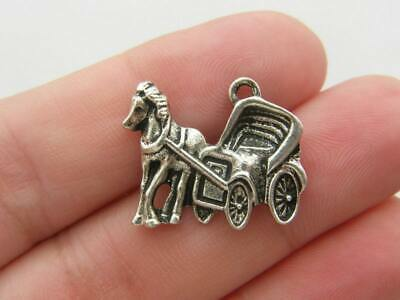 6 Horse drawn carriage charms antique silver tone A563
