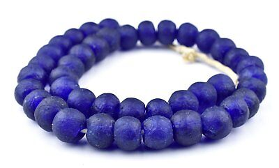 Cobalt Blue Fused Recycled Glass Beads 14mm Ghana African Round Large Hole