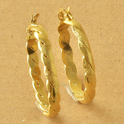 """Awesome New 9K Solid Yellow Gold Filled 1.25"""" Oval Braided Twist Hoop Earrings"""