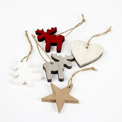 6 Cm Wooden Christmas Tree Star Heart Hangers x 10