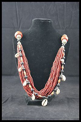 """BERBER MEDITERRANEAN NATURAL RED CORAL RANKS NECKLACE WOODEN BEADS 16.5"""" 94grs"""