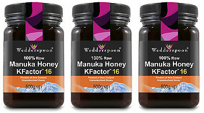 Wedderspoon RAW Manuka Honey KFactor 16 - 3 x 500g TRIPLE PACK
