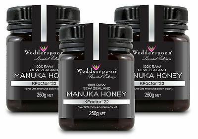 Wedderspoon RAW Manuka Honey KFactor 22 - 3 x 250g  TRIPLE PACK