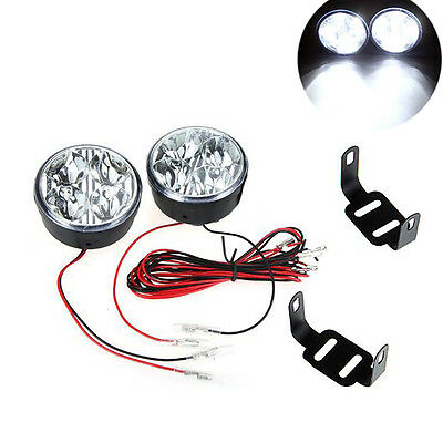 914H3 2 Stueck 12V Universal-Weiss-4 LED Runde Tagfahrlicht DRL Auto-Nebel-Tage