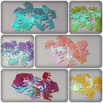 20 x AB Plated Craft Sequin Embellishments - 23mm - Crown [Various Colours]