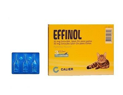 Caja 3 pipetas gatos EFFINOL 0,50 ml anti pulgas y garrapatas fipronilo