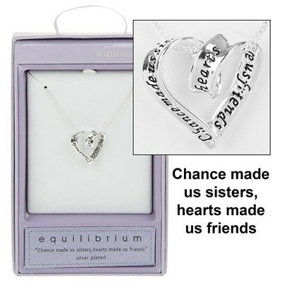 EquIlibrium Sis Half Sister Sisters Hearts Silver Plated Necklace Chain 49743
