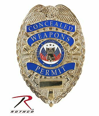 Deluxe Gold Concealed Weapons Permit Badge Rothco 1946