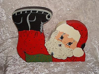 Santa Claus On His Back Feet Up Whimsical Wood Figure Hand Made & Painted