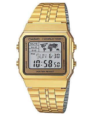 Casio Men's Vintage Square Digital Watch Stainless Steel Glass Gold