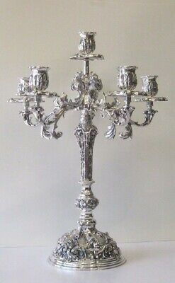 Fine Italian 925 Silver Shiny Leaf Floral Ornate 6 Light Candelabra An-3655