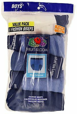 Fruit Of The Loom Fashion 5 Boys Brief Blues Collection Size XL