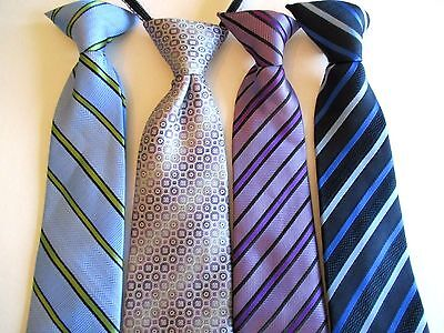 Boy's Pre-Tied -   Neck Ties (4) Ties For Ages 8 - 11 Years