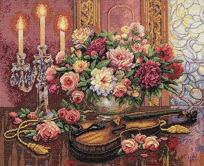 Dimensions - Counted Gold Cross Stitch Kit - Romantic Floral - D35185