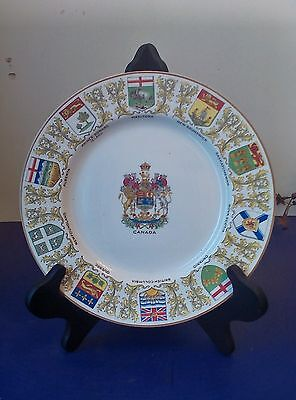 """Vintage Crown Ducal Plate with Canadian Coat of Arms Made in England 9 78"""""""