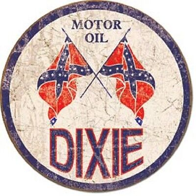 Dixie Motor Oil Round Tin Metal Sign Garage Gas and Oil Ad