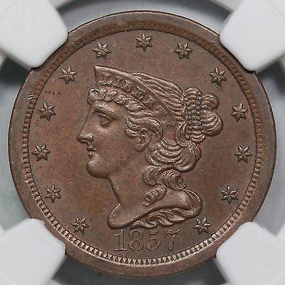 1857 C-1 NGC MS 61 BN Classic Head Half Cent Coin 1/2c