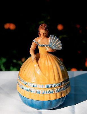 Antique Art Deco Marquise German Hand Painted Porcelain Powder Jar W/ Music Box!
