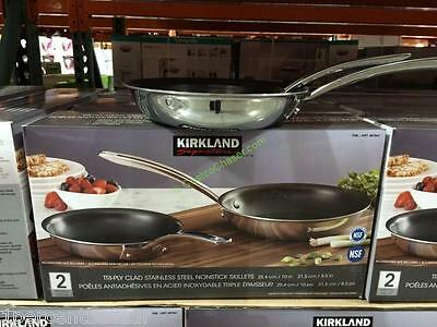 Kirkland Signature SS non-stick skillets set of 2 - 21.5cm & 25.4cm