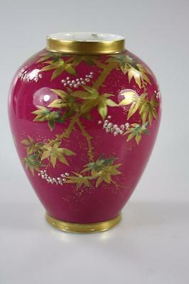 ART DECO LIMOGES HAND PAINTED MAPLE PATTERN VASE marked A. Sylvain