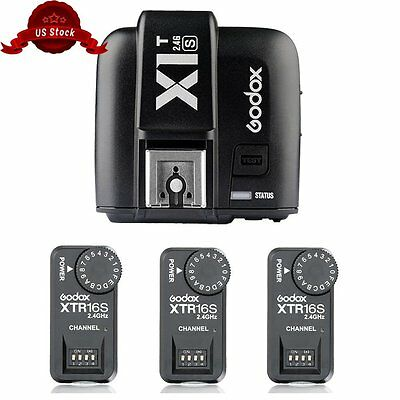 Godox X1T-S TTL HSS 2.4G Flash Trigger + 3*XTR-16S 2.4G Receivers Kit for Sony