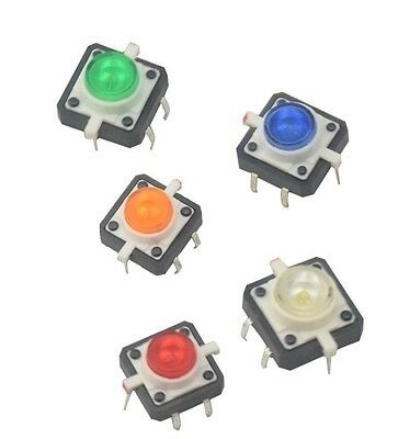 5PCS X 12X12X7.3 Tactile Push Button Switch Momentary Tact LED 5 color