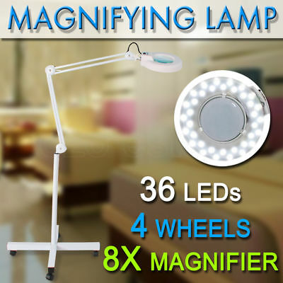 NEW Magnifying Lamp Glass Lens Round Head 36 LED Light Magnifier 8 x On Stand
