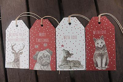 East of India Christmas gift tags x 6 PUG CAT DEER REINDEER - SALE