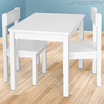 Childrens Table & 2 Chairs Set Girl Boy Kids Furniture Bedroom Playroom White