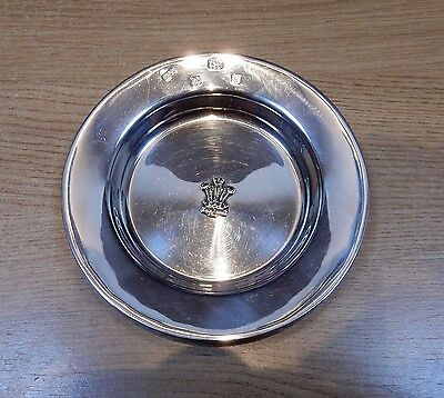 Vintage Sheffield 1981 Solid 925 Silver PRINCE OF WALES FEATHERS ASHTRAY 104.8g