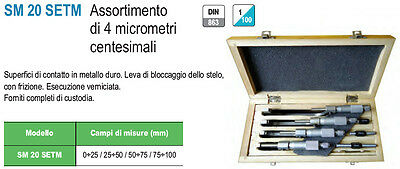 Set Assortimento 4 Micrometri Centesimali Echo 0÷25 / 25÷50 / 50÷75 / 75÷100