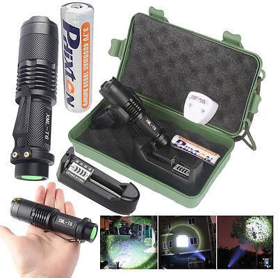 Bright 10000LM XML T6 LED Tactical Police Flashlight+18650 Battery+Charger+Case