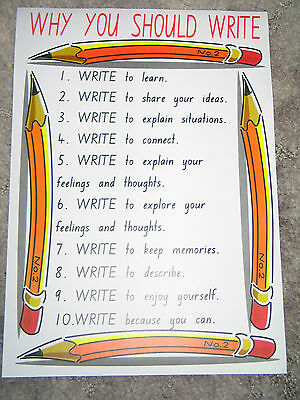 Teacher Resource Classroom Poster WHY YOU SHOULD WRITE Primary Infants High BN