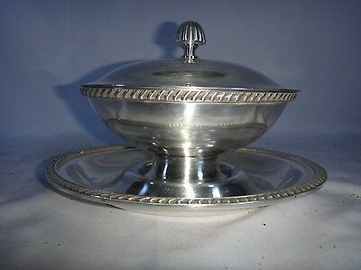 Antique Reed & Barton Covered Gravy Boat Silver Soldered 3000 Silverplate Lid